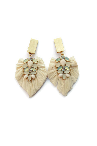 Stacia Raffia Long Crystal gemstone fan Earrings