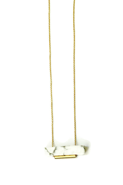 Rectangle White Howlite Stone Necklace