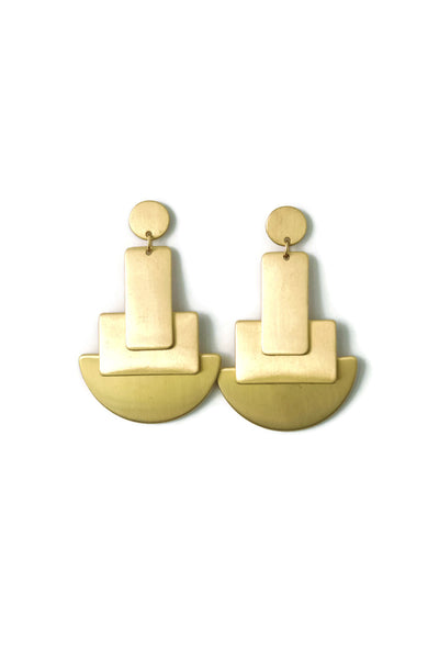 Jesse Girl Rectangle Gold Drop Pendant Earrings