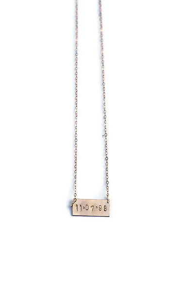 Short Bar Stamped Necklace