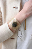 Laser Cut Brass Cuff Bracelet with Stone