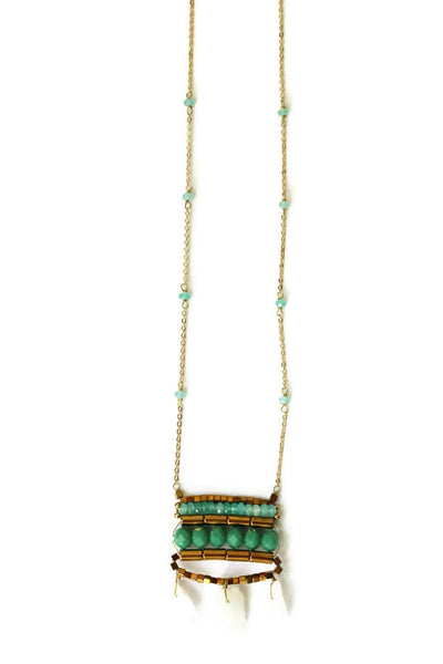 Stone Ladder Long Pendant Necklace
