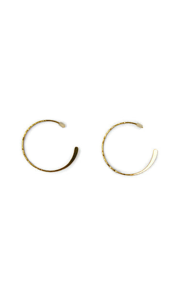 Felly Flat Textured Gold Hoop Earrings