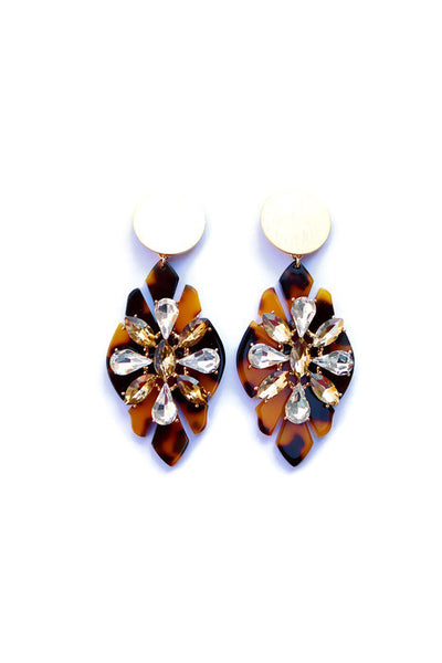 Tortoise Shell Gemstone Starburst Chandelier Post Earrings