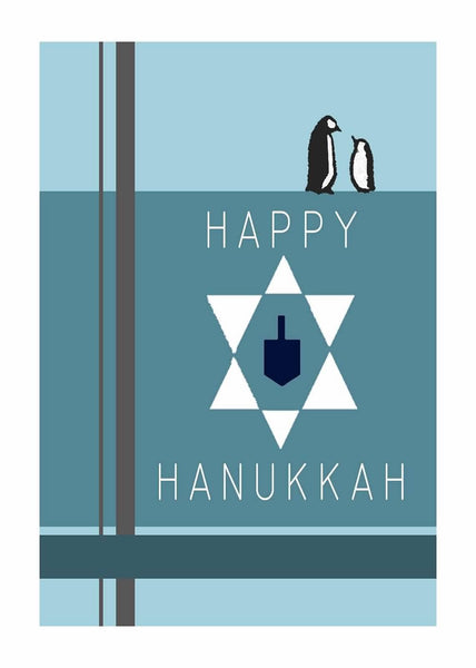 "Happy Hanukkah - Star, Dreidel, Penguins Card (5"" x 7"")"