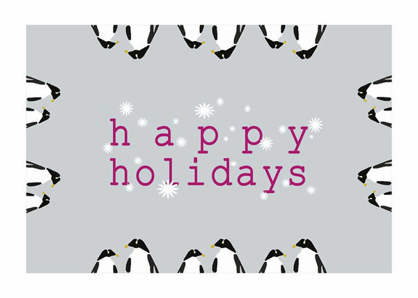 "Happy Holidays All Around Penguins Card (5"" x 7"")"