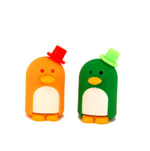 Penguin Eraser Couple (Orange & Green)