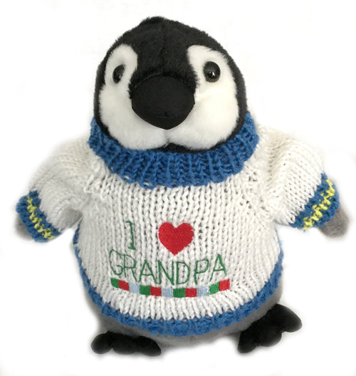 Penguin Plush Stuffed Animal I love Grandpa Grandfather Father's Day Gift