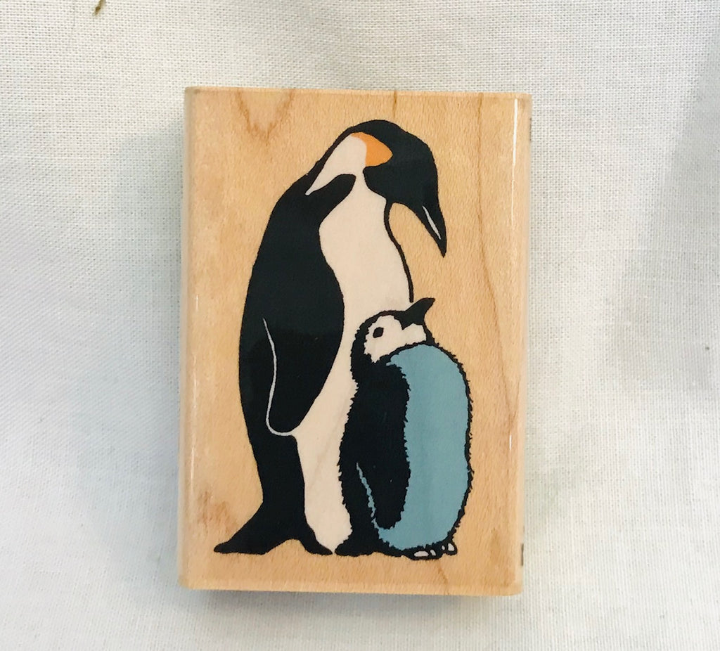 Penguin & Chick Rubber Stamp
