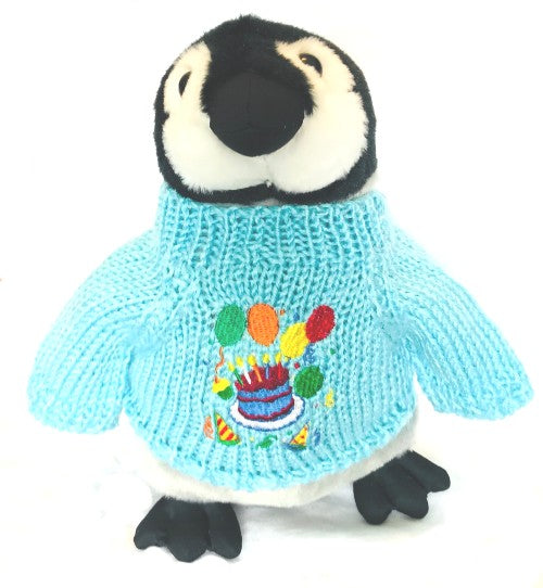 Penguin Plush Stuffed Animal Birthday Happy Cake Gift