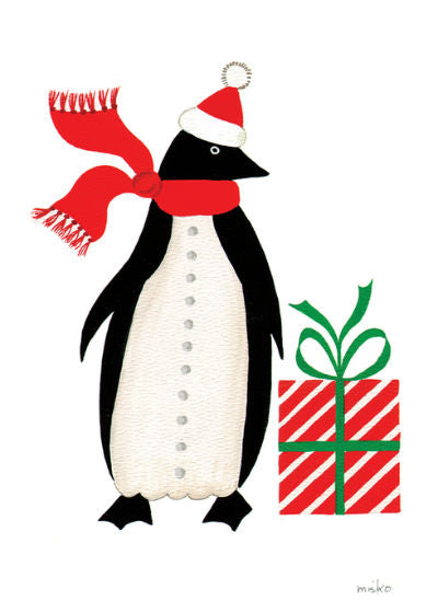 "Penguin Present Christmas Card (4"" x 6"")"