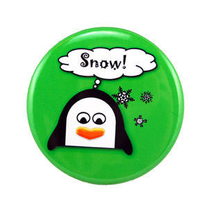 "Think Snow Penguin Button (2"" diameter)"