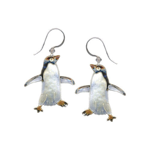 Adelie Penguin Silver & Enamel Earrings