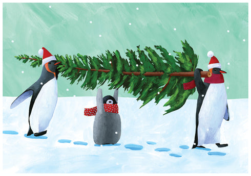 "Carry The Tree Penguins Chirstmas Card (5"" x 7"")"