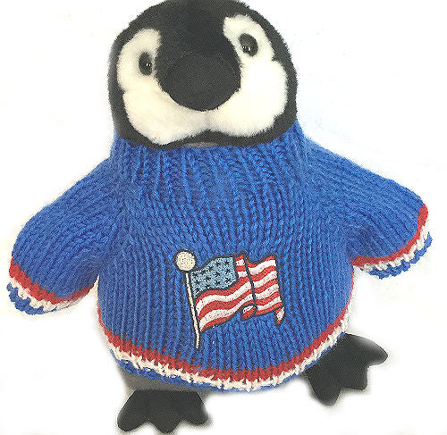 Patriotic Penguin Plush, 4th of July, Memorial Day, Stuffed Animal