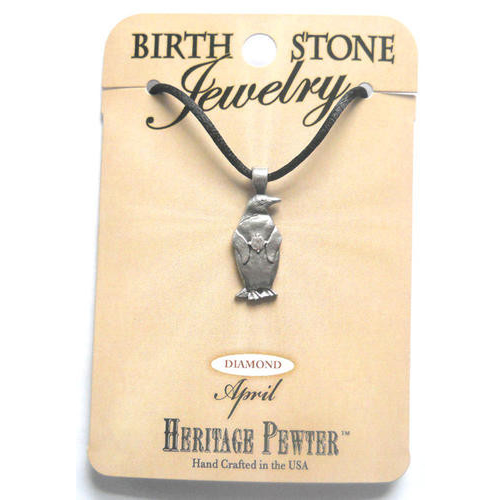 Pewter Penguin April Birthstone Pendant Jewelry Gift