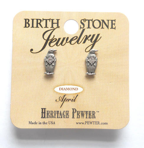 Pewter Penguin April Birthstone Earrings Stud