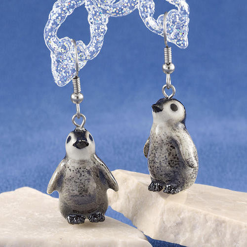 "Penguin Babies Porcelain Earrings (3/4"" Tall)"