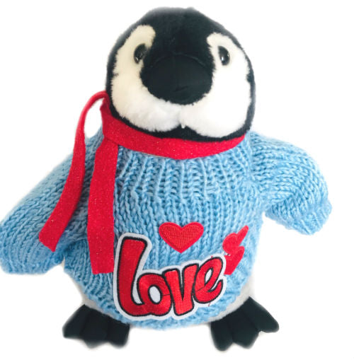 "Blue Penguin Love Valentine's Day Plush with Scarf (10"" Tall)"