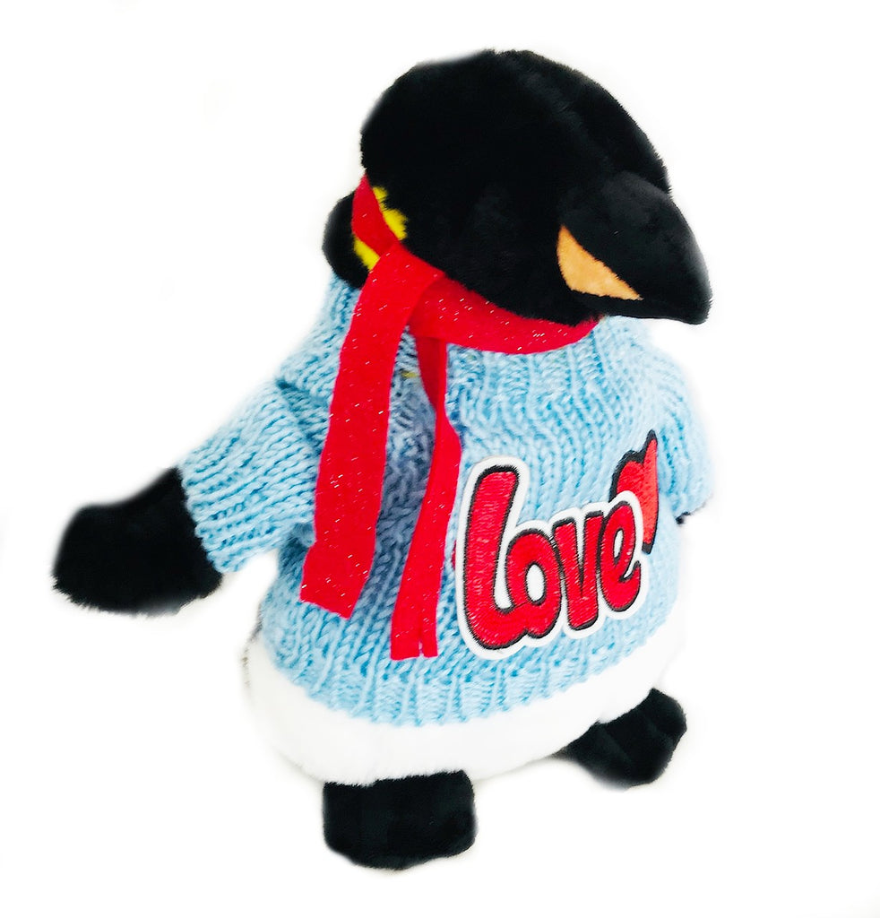"Emperor Penguin Valentine Plush with Blue Sweater (10"" Tall)"