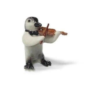 Penguin Chick Baby Ceramic Figurine Violin Player Gift