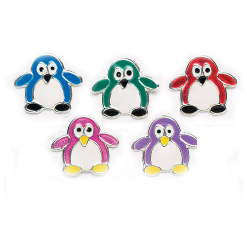 "Colorful Penguin Post Earrings (sterling silver 1/2"" Tall)"