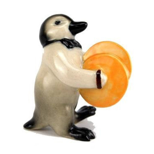 "Cymbal Playing Penguin Figurine (2 1/4"" tall)"
