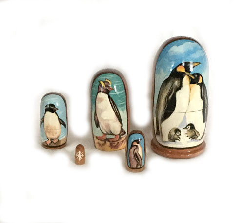 "Elegant Russian Penguin Nesting Dolls (5"" Tall / 4 Piece)"