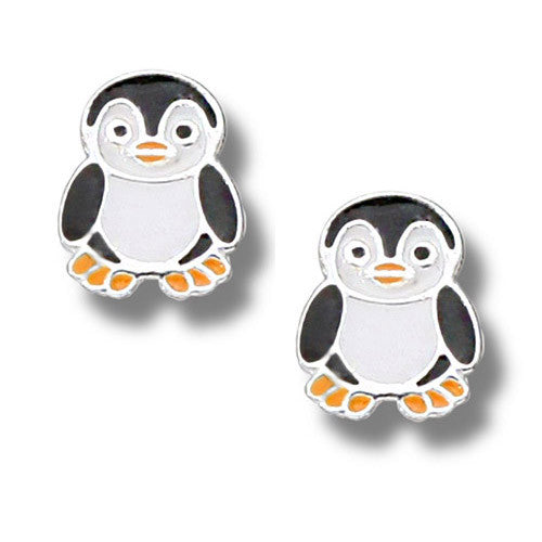 Emily Sterling Silver Penguin Stud Earrings (1/2 Tall)