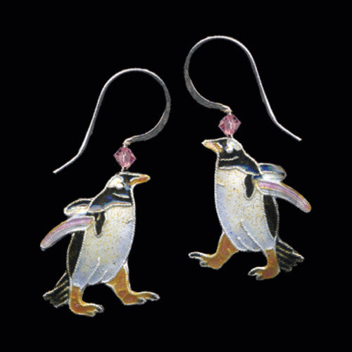 Gentoo Penguin Cloisonne Earrings