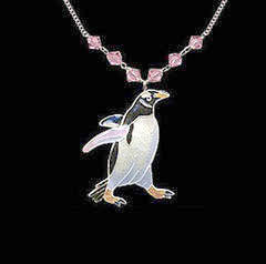 Gentoo Penguin Necklace with Swarovski Crystals