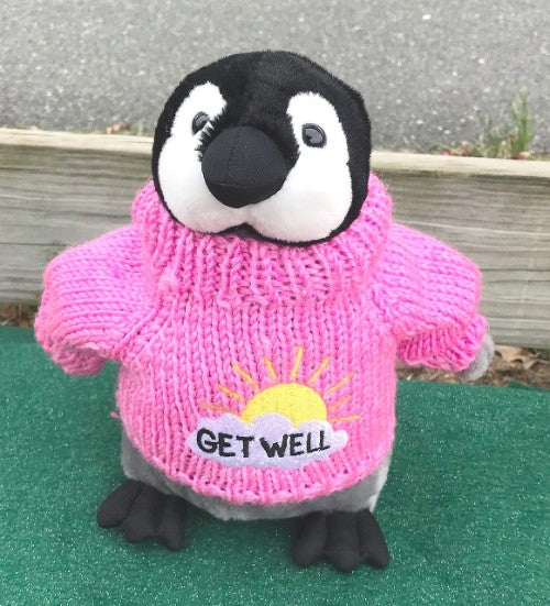 "Get Well Pink Penguin Plush (10"" Tall)"