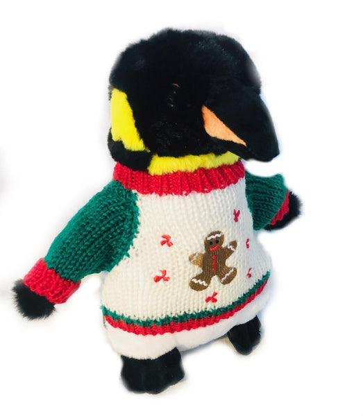 "Gingerbread Man Christmas Penguin Plush (10"" Tall)"