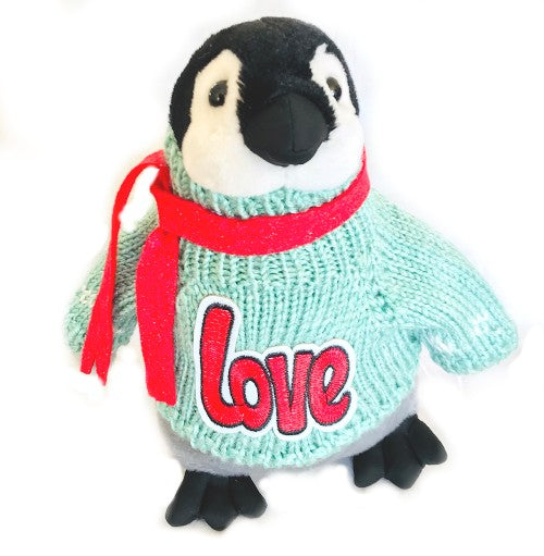 "Penguin Love Romantic Plush (Green Sweater - 10"" Tall)"
