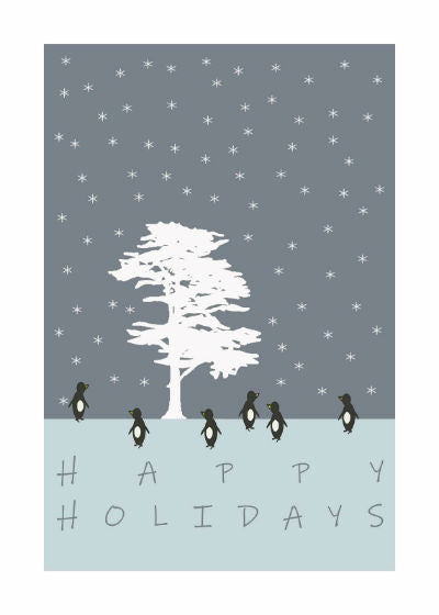 "Penguins Around The Tree Holiday Card (5"" x 7"")"