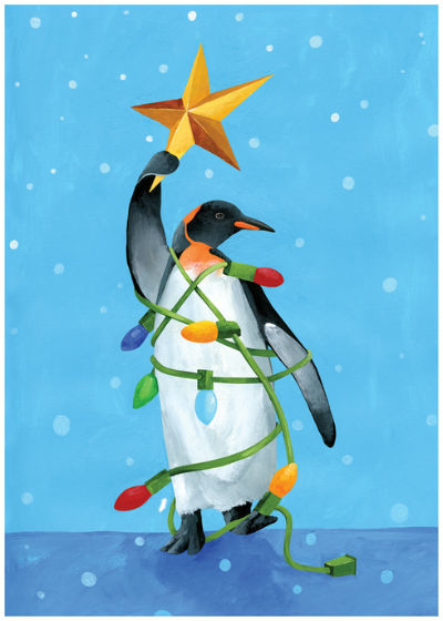 "Holding The Star Penguin Holiday Card (5"" x 7"")"