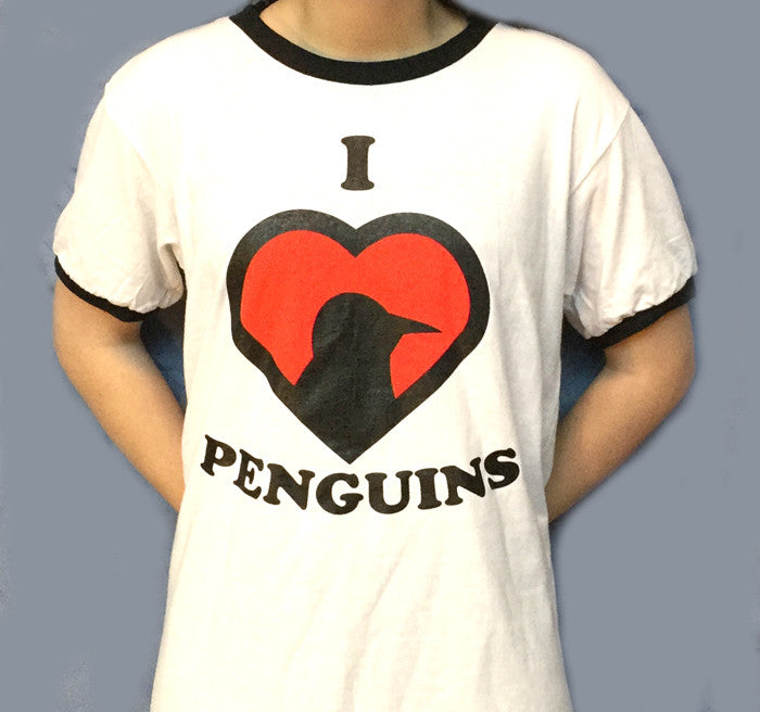 I Love Penguins T-Shirt (S - XL with retro black ringers)