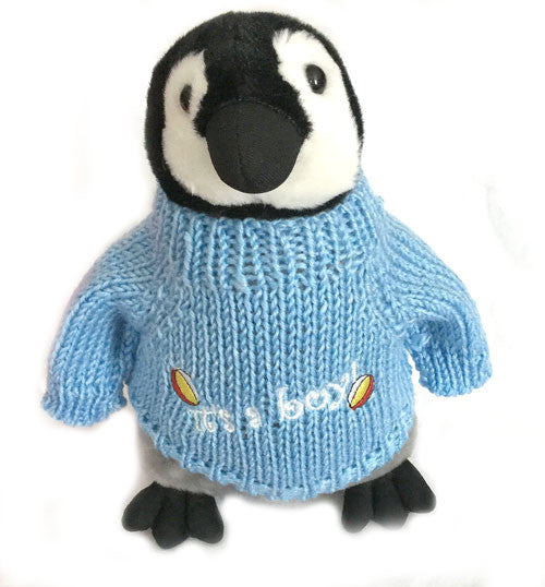 "It's A Boy Plush Penguin In Sweater (10"" Tall)"