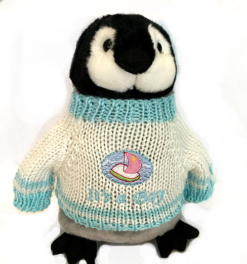"It's A Boy Embroidered Sweater Penguin Plush (10"" Tall)"