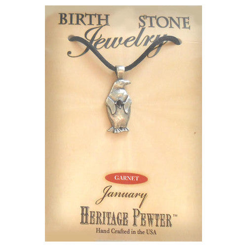January Pewter Penguin Birthstone Pendant (Garnet)