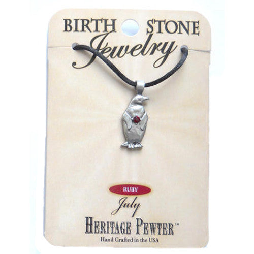 July Pewter Penguin Pendant (Ruby)
