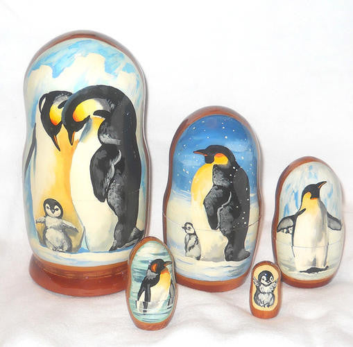 "Deluxe Russian Nesting Penguin Doll Set (7"" tall)"