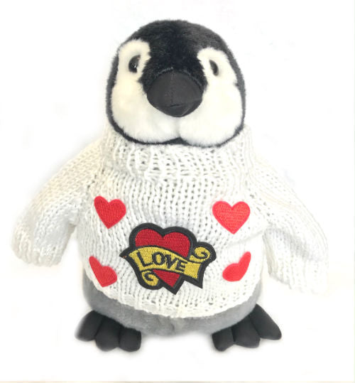 "Romantic Penguin Plush With Embroidered Love Hearts Sweater (10"" Tall)"