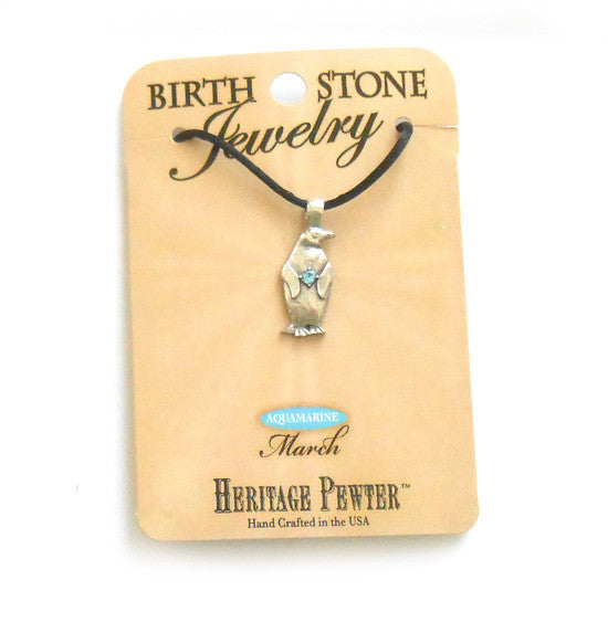 March Penguin Birthstone Pendant (Aquamarine)
