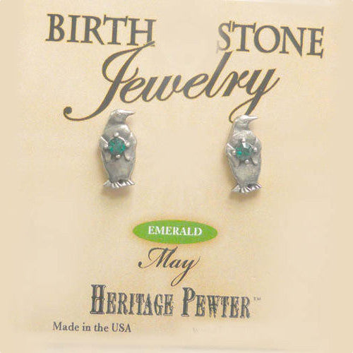 May Penguin Birthstone Earrings (posts)