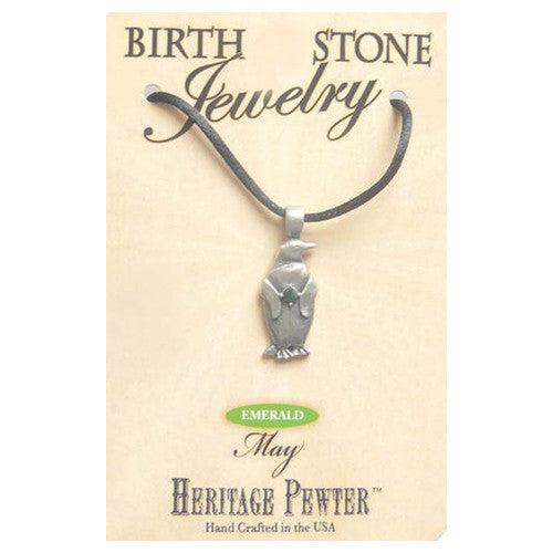 May Pewter Penguin Birthstone Pendant Gift Jewelry
