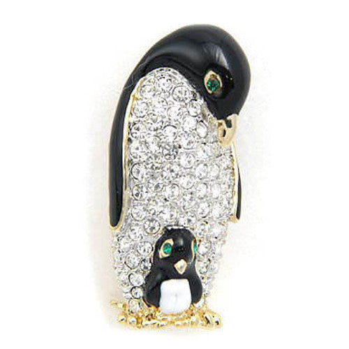 "Mom & Baby Rhinestone Penguin Brooch (2"" tall)"