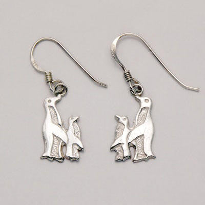 Penguin & Chick Silver Dangle Earrings