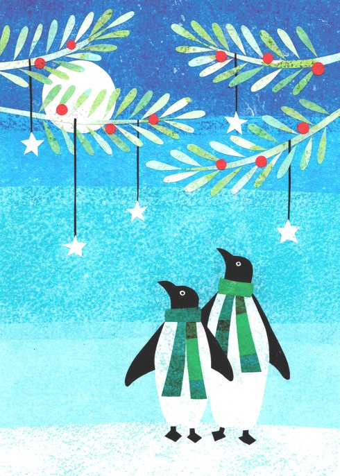 "Penguin Couple Holiday Card ( 4 1/2"" x 6"")"