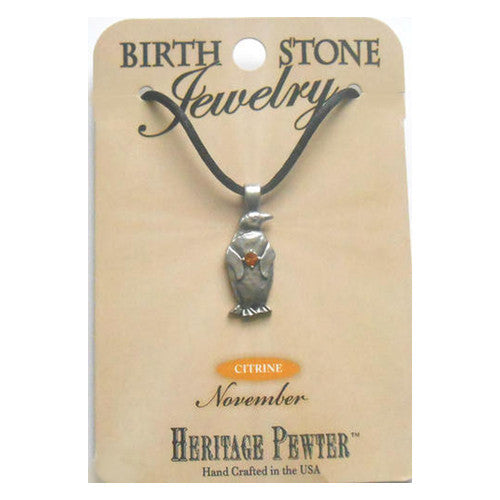 November Penguin Birthstone Pendant (Citrine)